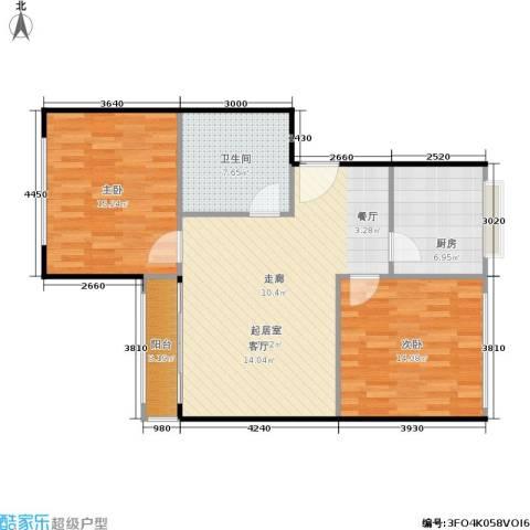 天通苑西一区2室0厅1卫1厨80.00㎡户型图