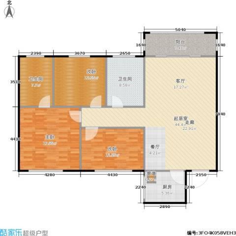 天通苑西一区3室0厅2卫1厨124.00㎡户型图