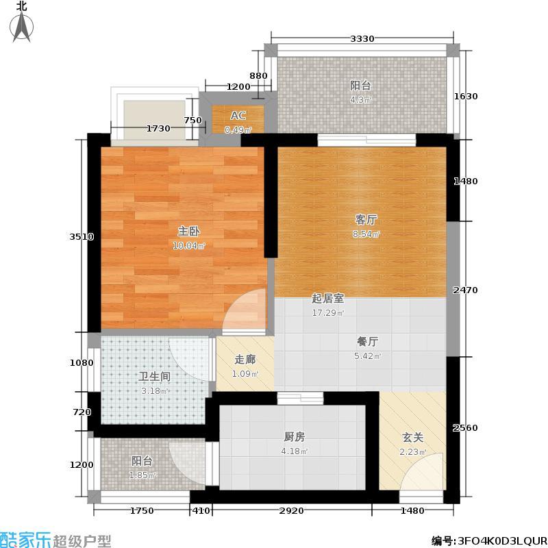 西汇鹃声里54.30㎡1期1、2号楼标准层A6户型