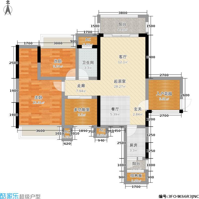 瀚林美筑04栋203户型2室1卫1厨