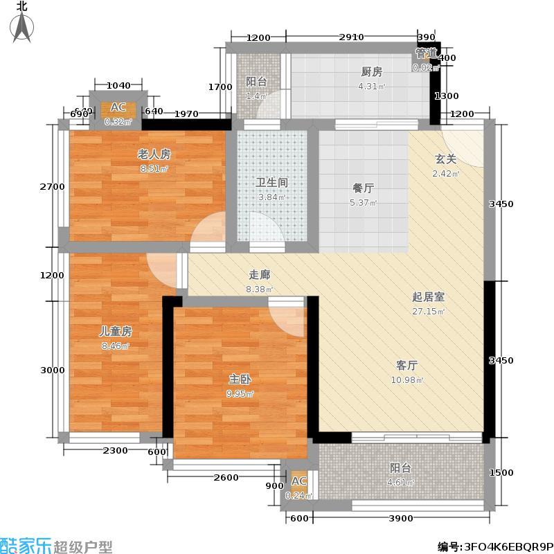 瀚林山水源84.00㎡8#2单元84平方米三房户型3室2厅