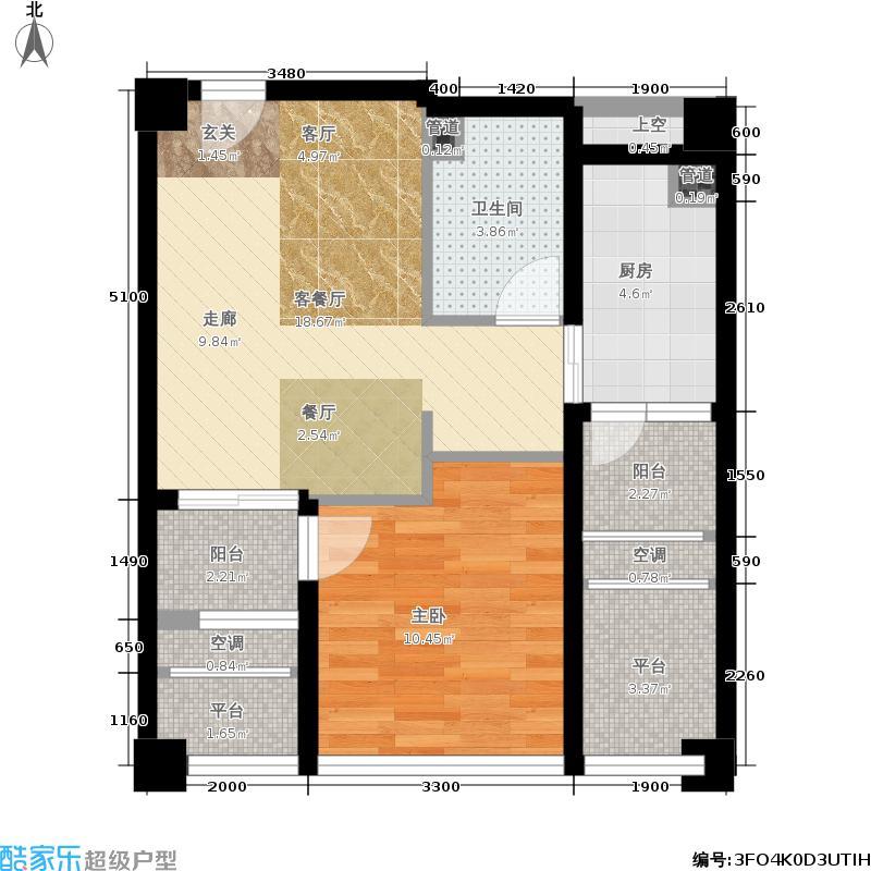 红星国际58.43㎡二期1号楼d标准层户型