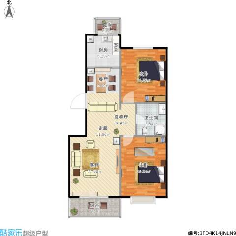 碧水云天颐园2室1厅1卫1厨113.00㎡户型图