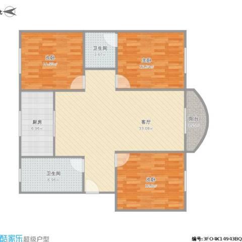 启园新村3室1厅2卫1厨122.00㎡户型图