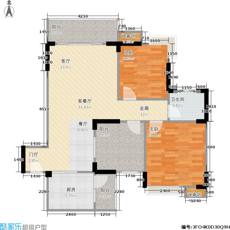 世纪滨江88.62㎡一期16、18、20号楼标准层J2户型