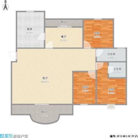运银公寓3室2厅2卫1厨139.00㎡户型图