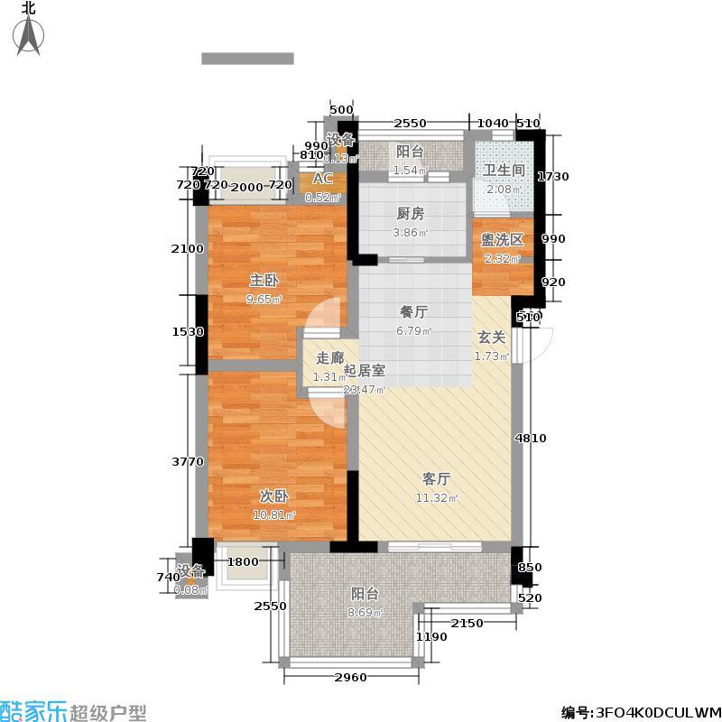 华宇楠苑76.04㎡一期12栋标准层D户型