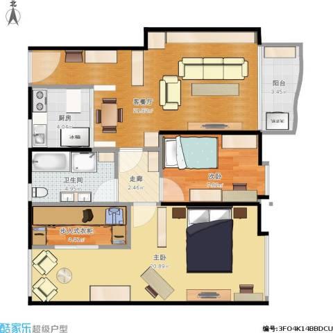 都市花园2室1厅1卫1厨95.00㎡户型图