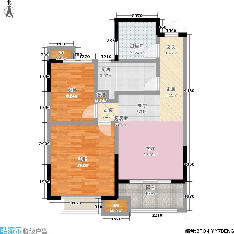 银亿东城77.00㎡一期标准层D6户型