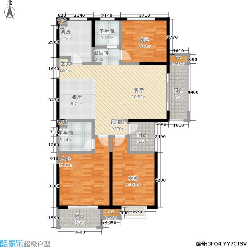 银亿东城137.00㎡一期标准层D3户型