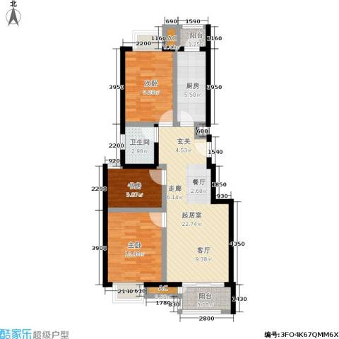 天恒乐活城D53室0厅1卫1厨91.00㎡户型图