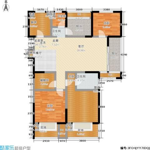 金地湖城艺境3室0厅2卫1厨136.00㎡户型图