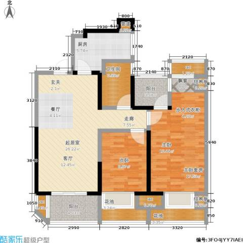 金地湖城艺境1室0厅1卫1厨96.00㎡户型图
