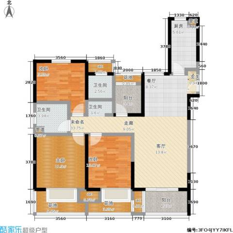 金地湖城艺境3室0厅2卫1厨118.00㎡户型图