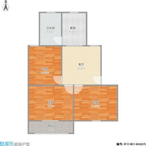 万荣小区3室1厅1卫1厨83.00㎡户型图