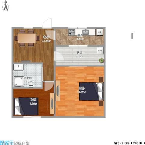 泾东一村2室1厅1卫1厨74.00㎡户型图