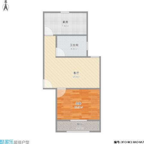 齐河花苑1室1厅1卫1厨57.00㎡户型图