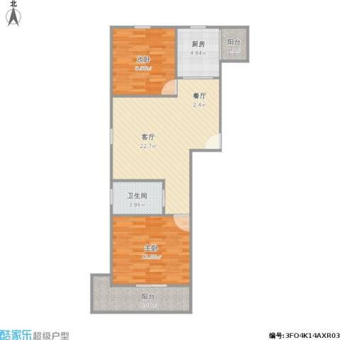 龙柏香榭苑商业2室1厅1卫1厨84.00㎡户型图