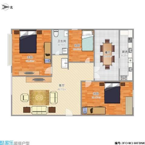 五龙花园3室2厅1卫1厨166.00㎡户型图