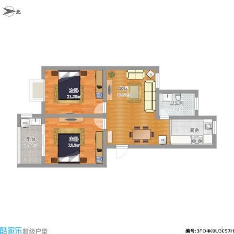 新城花园2室1厅1卫1厨81.00㎡户型图