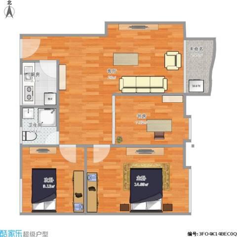 都市花园3室1厅1卫1厨90.00㎡户型图