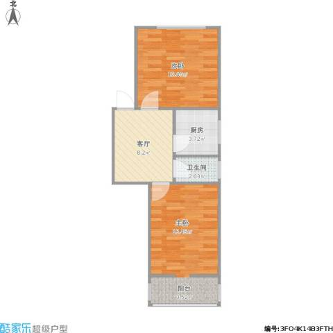 凤凰西街小区2室1厅1卫1厨57.00㎡户型图