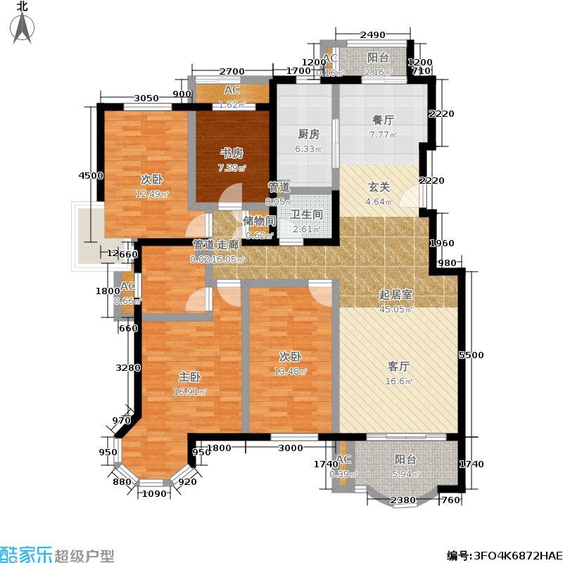 翠林漫步149.00㎡D1户型四室两厅两卫户型4室2厅2卫