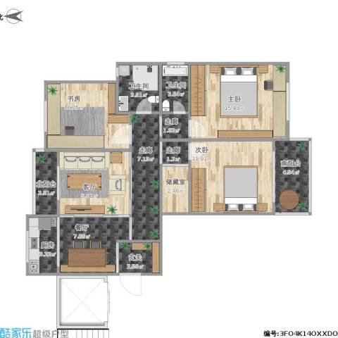 鑫龙佳苑3室2厅2卫1厨117.00㎡户型图