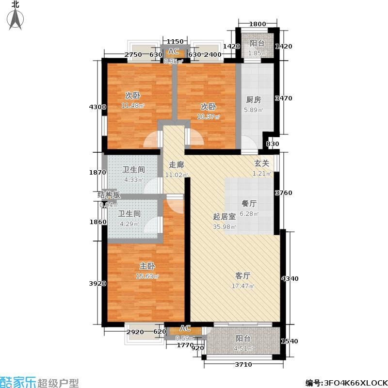 天恒乐活城D5128.00㎡图为G3户型 三室二厅二卫户型3室2厅2卫