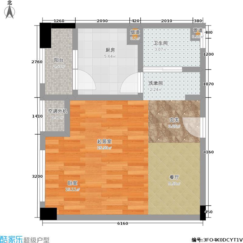 上海中优国际广场44.00㎡一期1号楼标准层A3户型