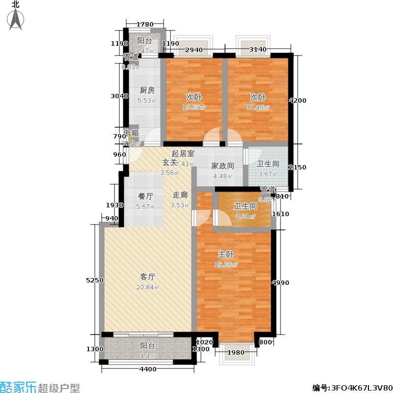 天恒乐活城D5130.00㎡C户型 三室两厅两卫户型3室2厅2卫