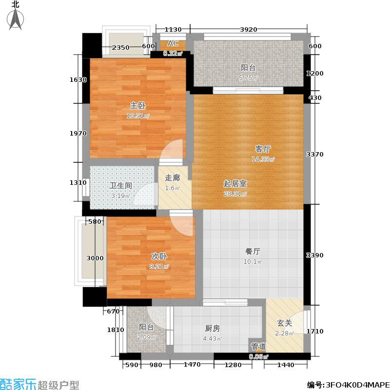 泰和欧城78.30㎡一期1-4号楼标准层B户型