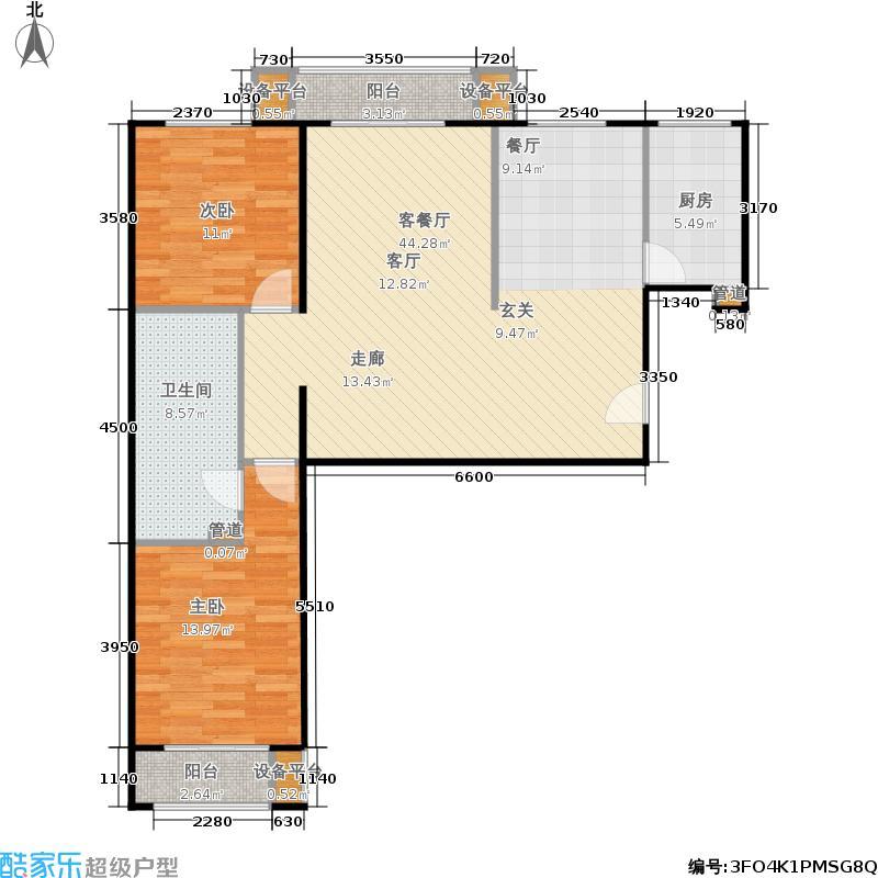 福海棠华苑101.00㎡H1户型2室2厅