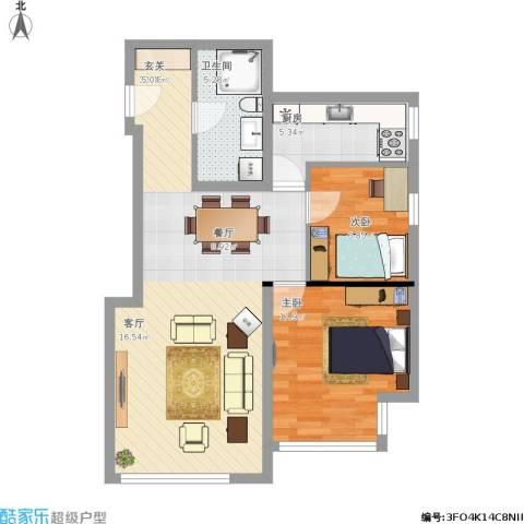 住总众邦·长安生活港2室1厅1卫1厨85.00㎡户型图