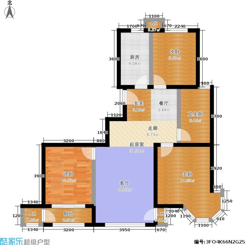 铂铭郡109.00㎡铂铭郡户型图A2-2户型三室两厅(3/5张)户型3室2厅1卫