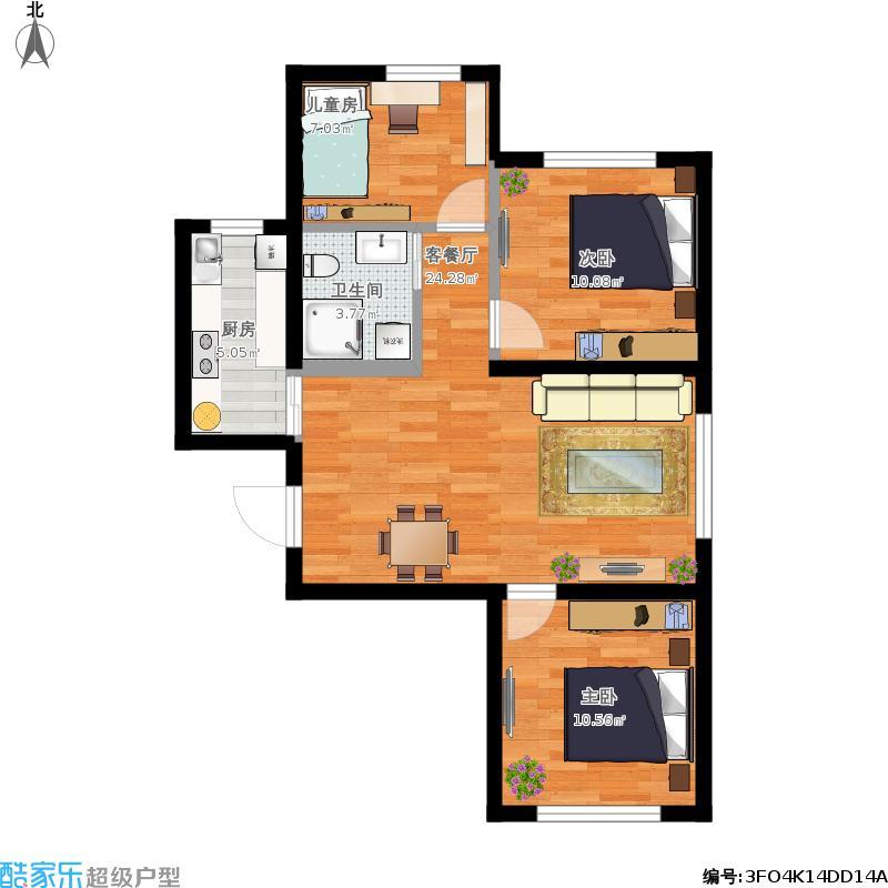 长安嘉园89方A1户型三室两厅