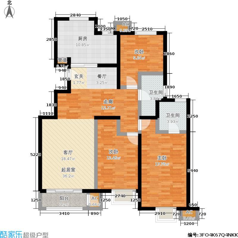 铂铭郡134.00㎡铂铭郡户型图B1-2户型三室两厅(1/5张)户型3室2厅2卫