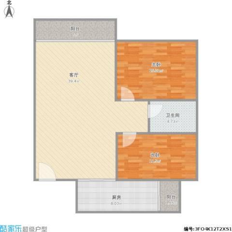 裕龙君汇2室1厅1卫1厨114.00㎡户型图