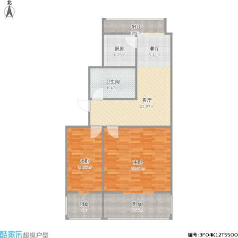 恒基中心国际公寓2室1厅1卫1厨104.00㎡户型图