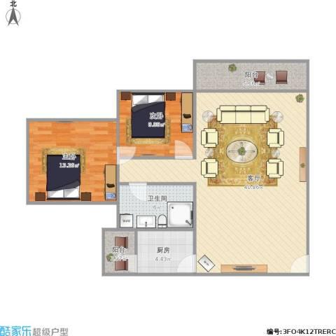 城市风景2室1厅1卫1厨109.00㎡户型图