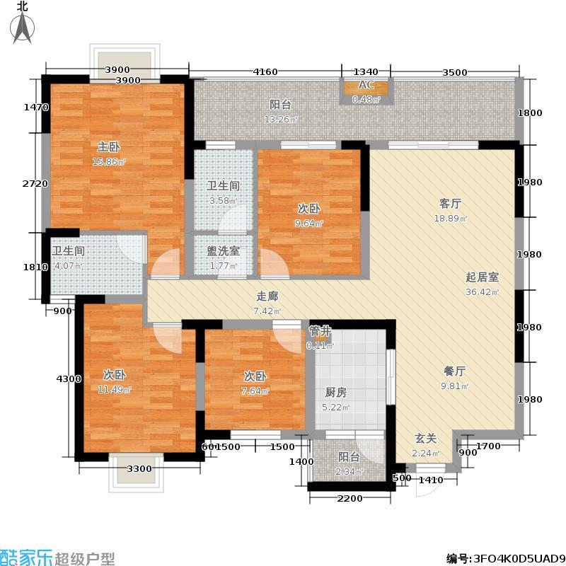 博盛康郡139.00㎡二期10、11号楼标准层D7户型