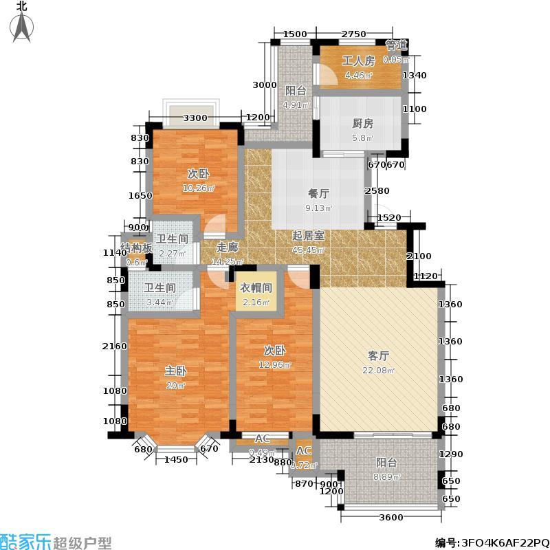 麓山翰林苑149.00㎡B6户型3室2厅2卫户型3室2厅2卫