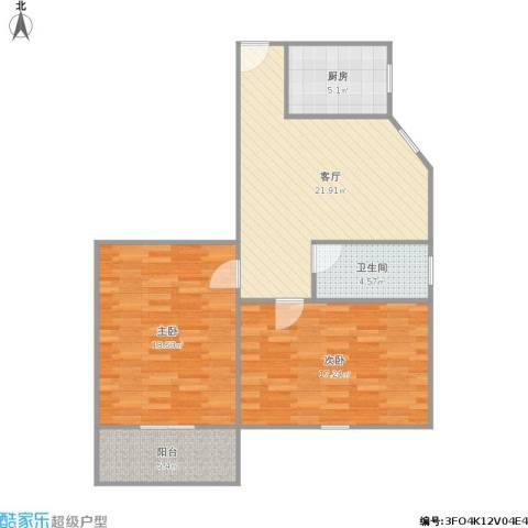 桥畔小区2室1厅1卫1厨98.00㎡户型图