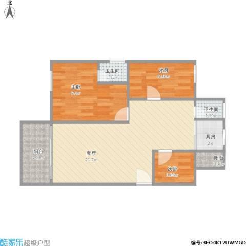 逸港花园3室1厅2卫1厨68.00㎡户型图