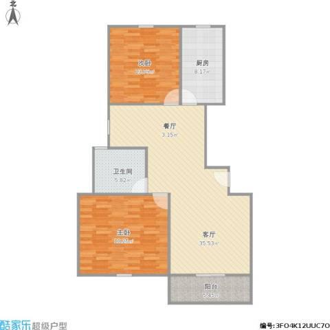 浦发博园别墅2室1厅1卫1厨116.00㎡户型图