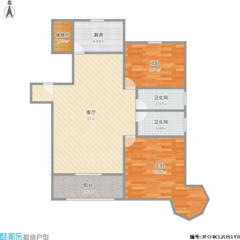 中祥哥德堡2室1厅2卫1厨90.00㎡户型图