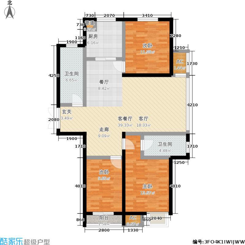 泰丰观湖138.95㎡1#2#C2-2户型2室2厅