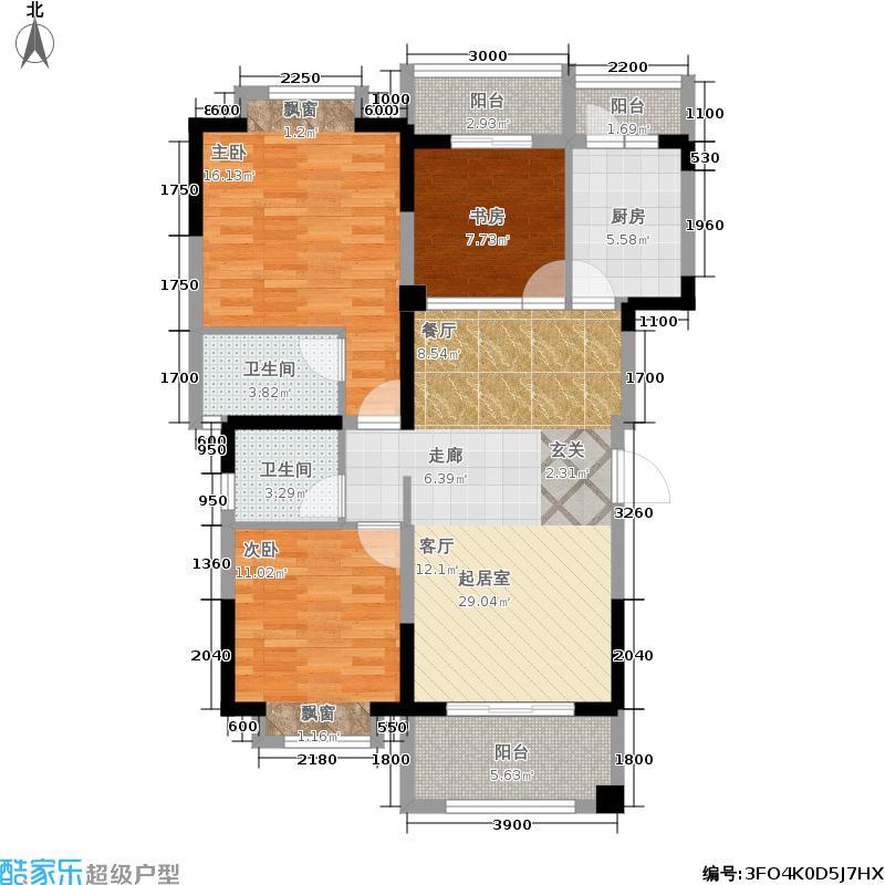 愿景青城雪107.79㎡一期二批次6号楼标准层B1户型