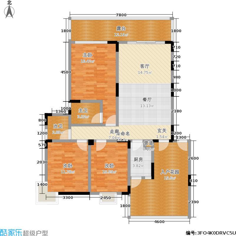 东韵嘉园115.85㎡一期1、2、8、9号楼标准层B3户型
