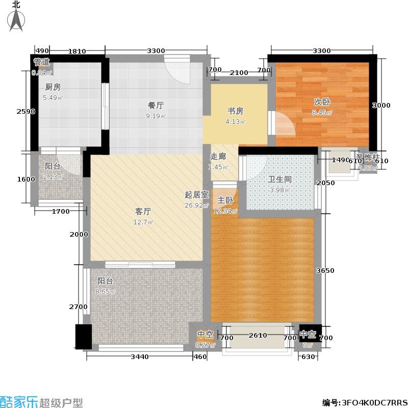 嘉楠美地87.55㎡一期1、2、3、4号楼标准层D3户型